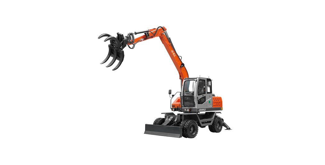 Jing Gong hot sale 95Z wheel excavator with sugarcane grapple 360 degree rotation