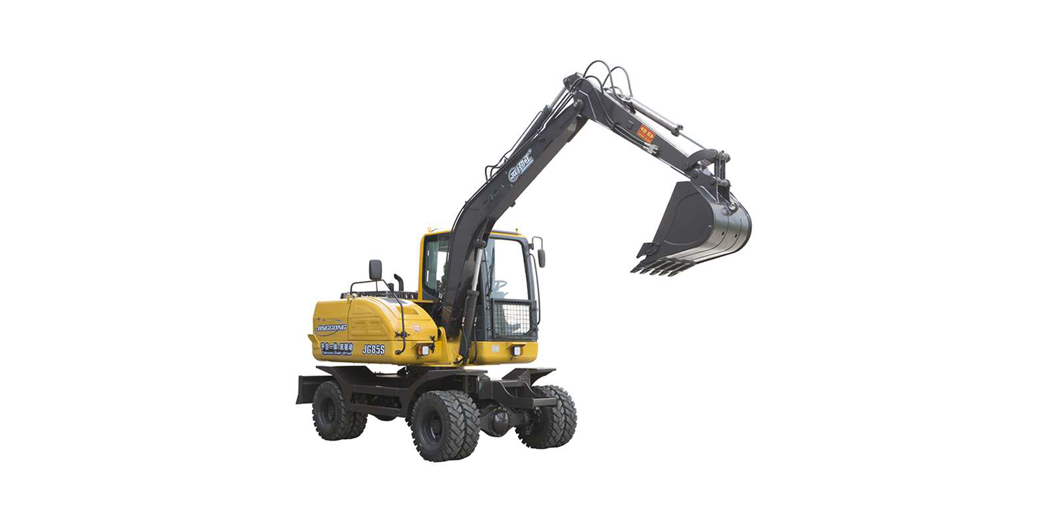 hot sale JingGong 7 ton hydraulic wheel excavator with combination of manual transmission and automatic transmission