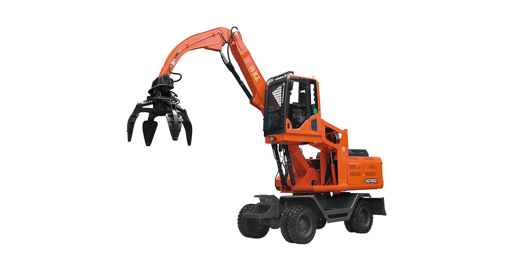 Jing Gong hot sale 150Z 12.5 ton wheeled 360°rotary excavator with steel scraps grapple