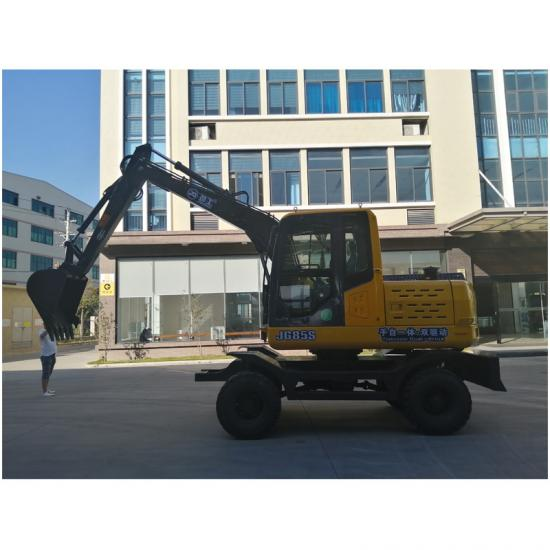 Jing Gong 85S small hydraulic wheel excavator with MT & AT transmission