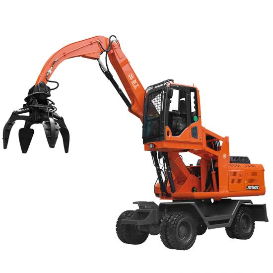 Jing Gong 150Z 12.5 ton wheeled 360°rotary excavator with steel scraps grapple